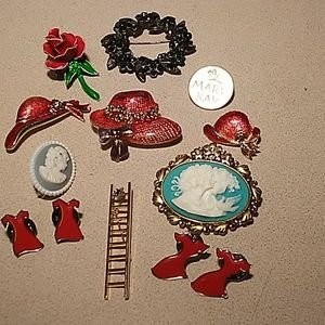13 stick pin brooches